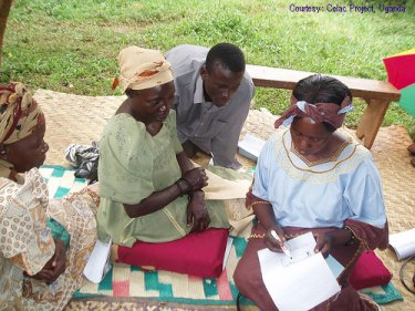 Ugandan women in group work